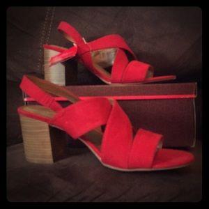 Dexflex Comfort Red Sandals with Chunky Heel